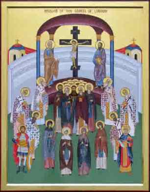 In this icon, there is in the lower part of the center a row of four female saints. The first on the left, wearing a monastic habit, facing somewhat to the right, is Hildelith, nun at Barking Monastery. To the right of Hildelith is St. Ethelburga, in a brown monastic cloak, facing forward. Icon by Mother Justina, Greek Old Calendarist Convent of St. Elizabeth, Etna, California