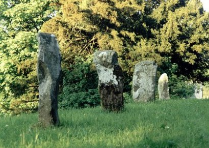 4 Standing stones in churchyard of Gwytherin