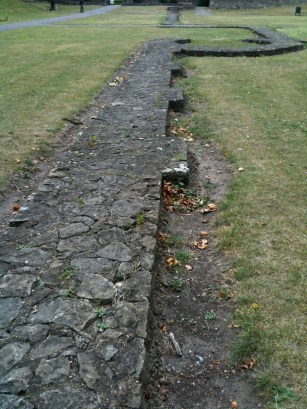 A view of a foundation wall at the ruins of Barking Abbey, Sept. 2009