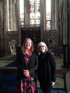 I am with Dr. Michelle P. Brown speaking at Hartlepool Abbey in September 2014 on St. Hilda.