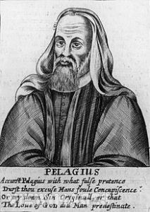"A print of Pelagius from a Calvinist document callling him ""accursed."""