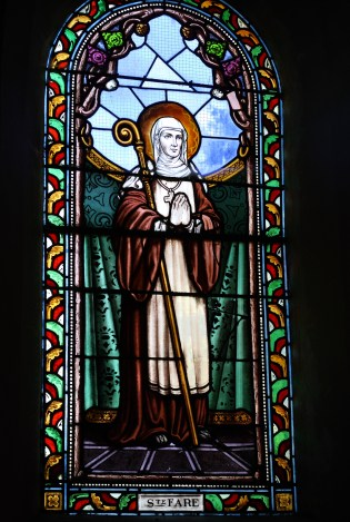 st. burgundofara. stained glassLa Celle-sur-Morin Saint-Sulpice. photo by G Freihalter