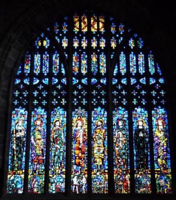Gorgeous huge Stained Glass of Celtic Saints. Chester Cathedral