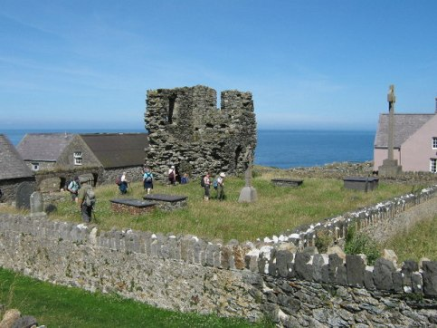 Bardsey Island. A view of the ruins of St. Mary's Church