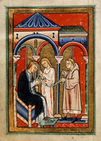 Abbess Aelflaed is cured by St. Cuthbert's linen girdle. From the Life of St. Cuthbert, originally produced at Durham, late 12th c. Image from the British Library