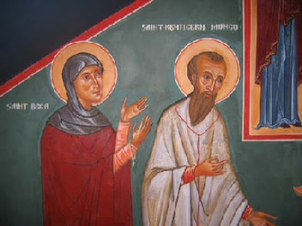 Icon of St. Bega of Bees in Cumbria and St. Kentigern of Glasgow, Scotland