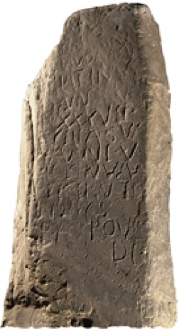 Latinus Stone in Whitburn Museum and Priory. Latinus is the first Christian in Scotland whose name we know, and his stone is clear evidence of the existence of a group of Christians at Whithorn as early as AD 450.