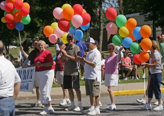 Giving away balloons at the 2008 South Plainfield Labor Day parade