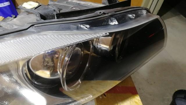 BMW E90 320i  SPASHAN スパシャン ヘッドライトスチーマー2 SPEEDを用いてのヘッドライトコーティング 磨き後