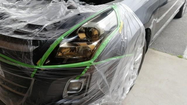 マツダ MPV ヘッドライトコーティング スパシャン ヘッドライトスチーマー 養生