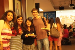 From left to right: Nora Brito, Tomokoo Ikeda and Sam Rizzo re-unite after summer adventures apart. (Nimisha Jaiswal)