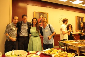 From left to right: Chris Dychala, Carl Patchen, Madeleine Schnur and Daniel Schwartz enjoy each other's company at the Italian dinner. (Nimisha Jaiswal)