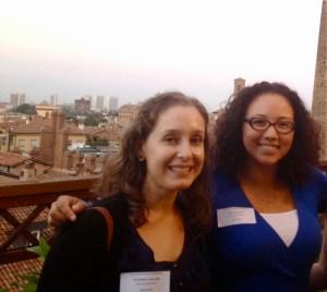 Students Tess Johnson (right) and Liz Heller enjoy the porch views. (Anthea Blaikie, Rachel Finan & Meredth Peters)