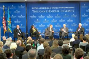 Robert Hunter, Jessica Mathews, David Rothkopf, Zbigniew Brzezinski, and Charles Gati talk on stage in the Kenney Auditorium.at SAIS Washington. (KAVEH SARDARI)