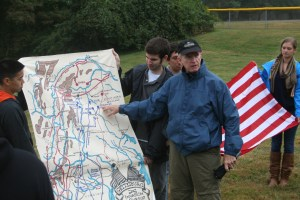 Dr. Thomas Keaney, executive director of the Philip Merrill Center for Strategic Studies and Associate Director of the Strategic Studies Program at SAIS, explains the movement of Union and Confederate forces during the Gettysburg Campaign in June 1863. (Jameel Khan)