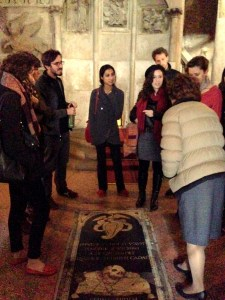 Italian Art History and Culture Professor Anna Cavina shows SAIS Europe students around Bologna's Sete Chiese. (Rachel Finan)