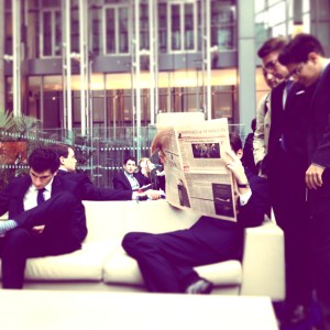 Students take a moment to relax in between meeting with some of the top finance firms in London. (SAMMY SEMWANGU)