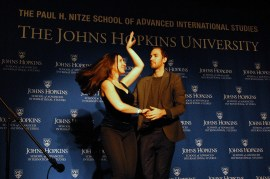 Second-year student Rebecca Freeman performs the Casino Salsa. (Sarah Rashid)