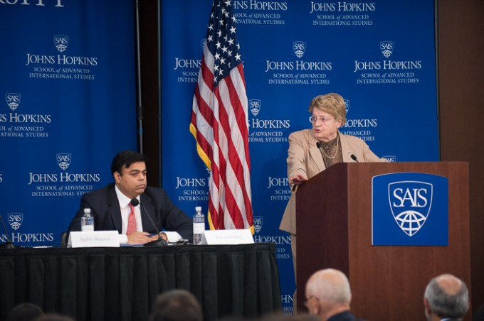 SAIS economics professor Anne Krueger speaks at Kenney Auditorium Oct. 1. Photo courtesy of Kaveh Sardari.