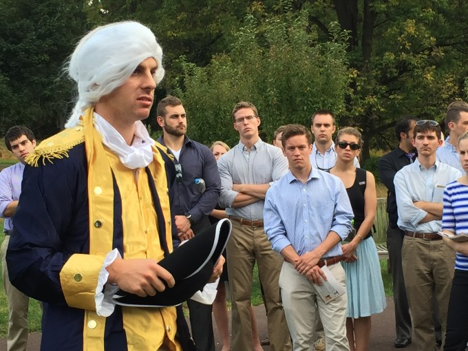 Second-year Strategic Studies student Brett Fetterly, dressed as Gen. George Washington, emotes the hardships endured during the winter of 1777 at Valley Forge, Pennsylvania.
