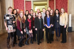 """A SAIS Europe contingent attended a special session of the Bologna City Council dedicated to the upcoming International Women's Day and a just-started art exhibition called """"Ladies for Human Rights"""" (Source: Courtesy of Federico Borella)"""
