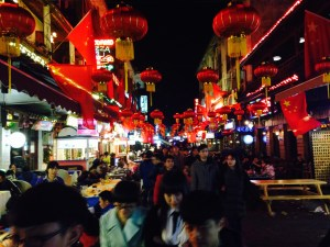 A typical scene of a local market during Spring Festival in Nanjing, China.