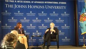 Former U.S. National Security Advisor Stephen Hadley speaks with Ambassador Shirin Tahir-Kheli on March 9, 2015 in Kenney Auditorium on U.S. foreign policy. (Photo courtesy of SAIS Hopkins)