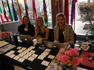 GWL members Emily Tang, Amy Fisher, and Rachel Snyderman check in conference attendees at the third annual SAIS Global Women in Leadership Conference.  (Photo by Zirra Banu)