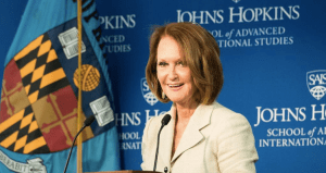 Opportunity International CEO Vicki Escarra delivers a keynote address at the third annual Global Women in Leadership Conference held at Johns Hopkins SAIS on Friday, April 3, 2015. (Photo Courtesy of Kaveh Sardari)
