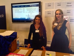 SGA representatives Irene Forzoni and Christiana Reichsthaler work the Welcome Desk at Alumni Weekend. (Photo: Bryn Jansson)