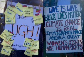 .C. residents hold protest signs advocating against various issues exacerbated by the month-old Trump administration. (Photo Credit: Fatima Nanavati)