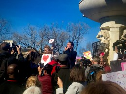 """Activist Gray Michael Parsons spoke to the crowd defending Native American rights. """"We have a small voice… we need you to care for us, we need you to hurt for us"""", he says as the crowd responds, """"we stand with you."""" (Photo Credit: Fatima Nanavati)"""