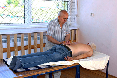 Elderly receiving physical therapy
