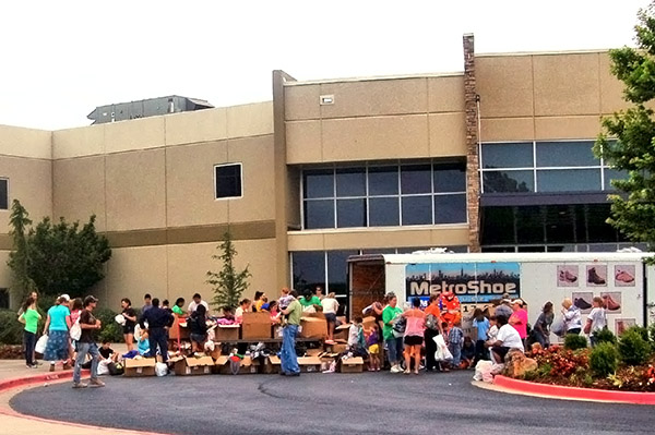 Tornado victims receiving supplies