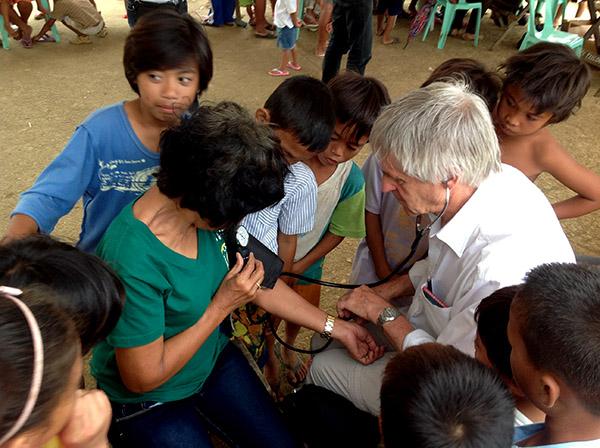 Patient receives medical check at Biliran medical camp