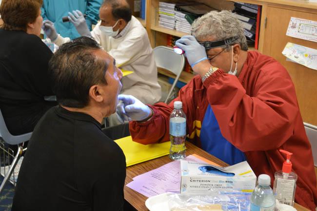 Dental check at Medical Camp in Corona