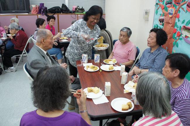 Serving snacks to the elderly