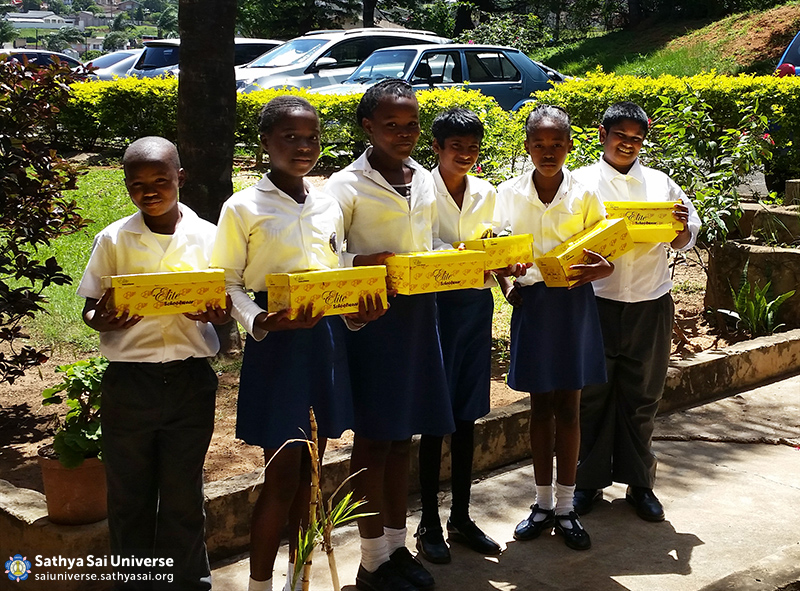 Children receive shoes in Orient Hills