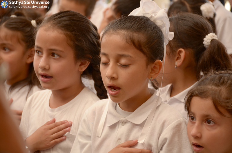 Inauguration of Sathya Sai School_ Group of girl students singing the anthem of the Sathya Sai School - Funza, Colombia, Zone 2B (Feb-27-2016) copy