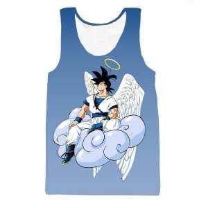 Angel Goku Sitting on the Cloud Blue Tank Top - Saiyan Stuff