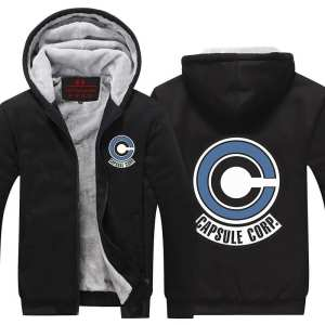DBZ Popular Capsule Corp Logo Black Zip Up Hooded Jacket