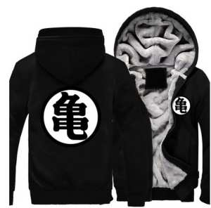 Dragon Ball Master Roshi Kanji Symbol All Black Zipper Hooded Jacket - Saiyan Stuff