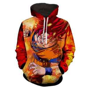 Dragon Ball Z Angry Son Goku God Form In Red Hair Hoodie