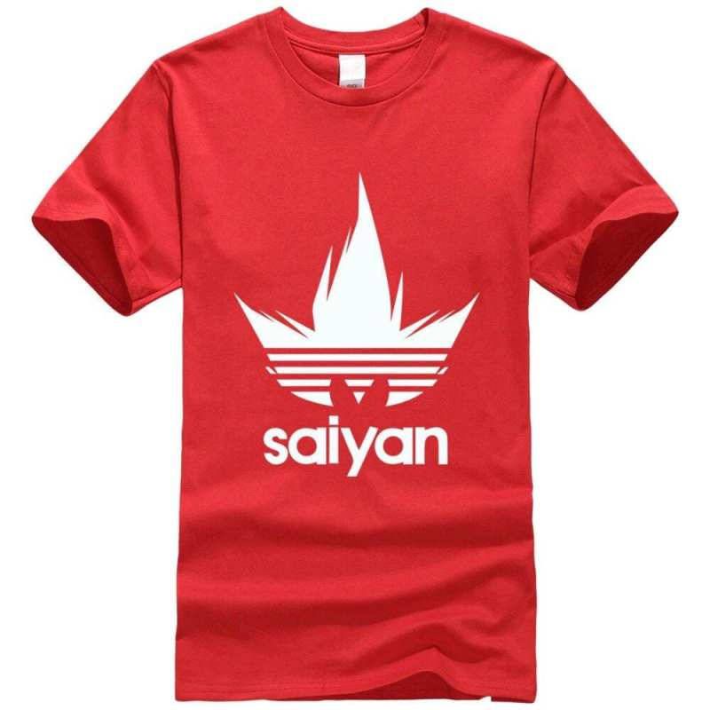 DBZ White Saiyan Adidas Parody Print Light Red T-Shirt