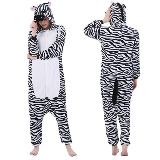 Zebra Kigurumi Black And White Stripes Onesie Pajama