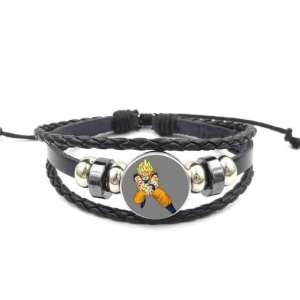 SSJ Son Goku Kamehameha Pose Leather Braided Bracelet