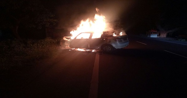 swift car on fire and three passengers burnt to death