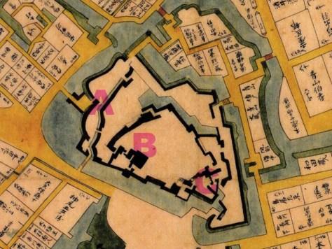 江戸始図A:複合馬出し、B:連立天守、C:5連続の外桝形