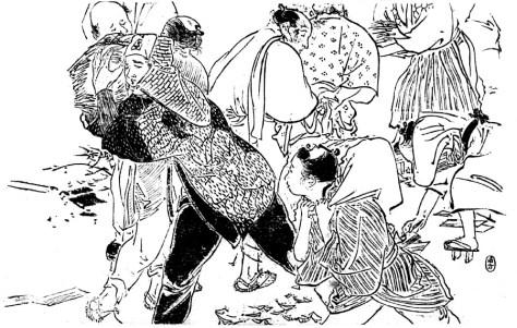 明治三十三年(1900年)十一月二十三日付やまと新聞、鏑木清方の挿絵。