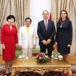 Chairwoman Nam Hee Kim of theIWPG, Chairman Man Hee Lee of HWPL, President Bujar Nishani of Albania and First Lady Odeta Nishani